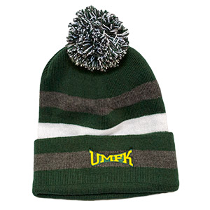 UMFK Striped Beanie With Pom Pom